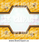 Vector Clip Art of a Border of Bees on Honey Combs over Clovers by Merlinul