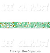 Vector Clip Art of a Border of Yellow Honey Bees on Green by Prawny