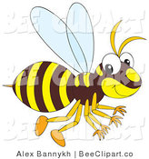Vector Clip Art of a Brown and Yellow Bee by Alex Bannykh