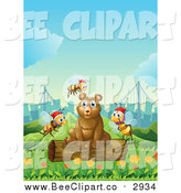 Vector Clip Art of a Brown Bear Sitting on a Log in a Park, with Christmas Bees and a City in the Background by Graphics RF