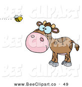 Vector Clip Art of a Brown Calf Watching a Bee Buzz by by Hit Toon