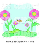 Vector Clip Art of a Bumble Bee in a Garden of Pink Flowers by Bpearth