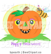 Vector Clip Art of a Bumble Bee on a Pumpkin with a Happy Halloween Greeting by