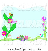 Vector Clip Art of a Bumble Bee on Flowers over Blue, with a White Border by