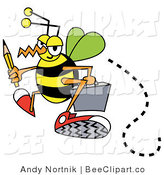 Vector Clip Art of a Busy Bee Carrying a Yellow Pencil and Gray Briefcase While Flying to Work by Andy Nortnik