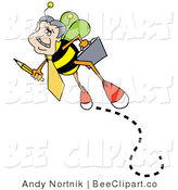 Vector Clip Art of a Busy Male Worker Bee Carrying a Pencil and a Briefcase on His Way to Work by Andy Nortnik