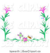 Vector Clip Art of a Butterfly, Bee and Pink Flower Border by