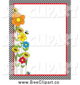 Vector Clip Art of a Checkered Border of Bees and Flowers by Maria Bell