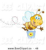 Vector Clip Art of a Cheerful and Happy Honey Bee Flying with a Bucket and Waving by Hit Toon