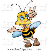 Vector Clip Art of a Cheerful Bumble Bee Walking and Gesturing with His Hand by Dero