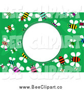 Vector Clip Art of a Colorful Bee Frame with White Space by Prawny
