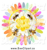 Vector Clip Art of a Colorful Flower and Bees by Merlinul