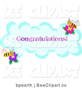 Vector Clip Art of a Congratulations Bumble Bee Greeting on a Cloud by
