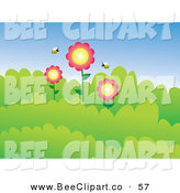 Vector Clip Art of a Couple of Bees Around Three Flowers in Bushes by Prawny