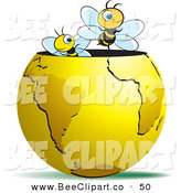 Vector Clip Art of a Couple of Happy Bees Emerging from a Gold Globe by Lal Perera