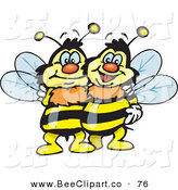 Vector Clip Art of a Couple of Happy Embracing Bees by Dennis Holmes Designs
