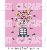 Vector Clip Art of a Crowd of Busy Bee Insectss Flying Around a Spiraling Flower on a Pink Background by Lisa Arts