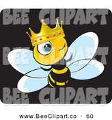 Vector Clip Art of a Crowned King Bee Wearing a Gold and Ruby Crown by Lal Perera