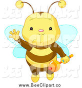 Vector Clip Art of a Cute Baby Bee Waving, Flying and Holding a Rattle by Pushkin