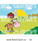 Vector Clip Art of a Cute Bee Flying Towards a Lone Calf in a Pasture by Hit Toon