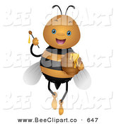 Vector Clip Art of a Cute Bee Holding up a Honey Wand on White by BNP Design Studio