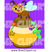 Vector Clip Art of a Cute Bee on a Honey Jar over Purple by