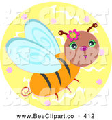 Vector Clip Art of a Cute Bee on a Yellow Floral Circle by
