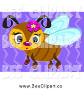 Vector Clip Art of a Cute Bee over Purple by Bpearth