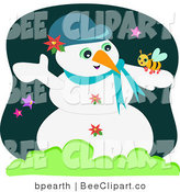 Vector Clip Art of a Cute Bee Resting on a White Snowman by
