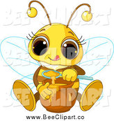Vector Clip Art of a Cute Bee Sitting and Tasting Honey by Pushkin