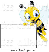 Vector Clip Art of a Cute Bee with a Blank Sign by Yayayoyo
