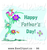 Vector Clip Art of a Cute Blue Bird on a Tree with Happy Fathers Day Text on BlueCute Blue Bird on a Tree with Happy Fathers Day Text on Blue by