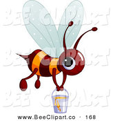 Vector Clip Art of a Cute Brown and Orange BumbleBee Carrying a Pail of Honey by Pushkin