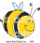 Vector Clip Art of a Cute Doodled Striped Chubby Bumble Bee by Yayayoyo
