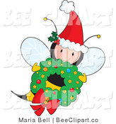 Vector Clip Art of a Cute Female Fairy Honey Bee Wearing a Santa Hat with Ivy and Flying with a Christmas Wreath by Maria Bell