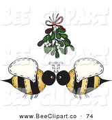 Vector Clip Art of a Cute Folk Art Bee Couple Under Mistletoe by Inkgraphics