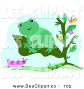 Vector Clip Art of a Cute Happy Green Frog on a Plant Leaf, with a Bee and Caterpillar by