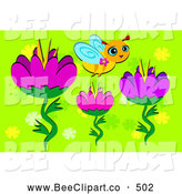Vector Clip Art of a Cute Little Bee Flying over Flowers on Green by