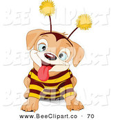 Vector Clip Art of a Cute Puppy Dog Wearing a Bee Costume by Pushkin