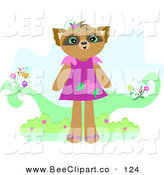 Vector Clip Art of a Cute Raccoon Girl in a Purple Dress by Bpearth