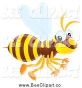Vector Clip Art of a Cute Wasp Flying by Alex Bannykh