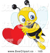 Vector Clip Art of a Cute Yellow Bee Flying with a Red Heart by Yayayoyo