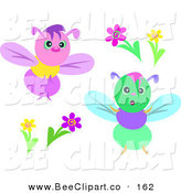 Vector Clip Art of a Digital Awr of Two Colorful Bees and Flowers by