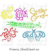 Vector Clip Art of a Digital Collage of Colorful Bugs on White by Prawny