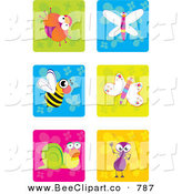 Vector Clip Art of a Digital Collage of Cute Insect Icons on Colorful Tile Backgrounds by