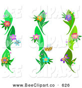 Vector Clip Art of a Digital Collage of Flowering Green Vines and Bug Design Elements by