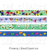 Vector Clip Art of a Digital Collage of Four Butterfly, Bird, Bee and Fish Borders by Prawny