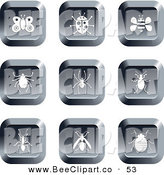 Vector Clip Art of a Digital Collage of Nine Square Chrome Insect Buttons by Prawny