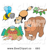 Vector Clip Art of a Digital Group of a Bee with Honey, Mink and Bear by Visekart