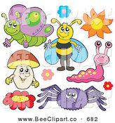 Vector Clip Art of a Digital Group of a Butterfly, Bee, Flowers, Mushroom, Spider and Slug by Visekart